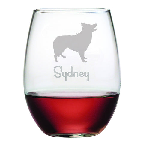 Personalized Dog Breed Stemless Wine Glasses (Set Of Four) - Border Collie