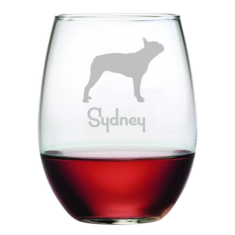 Personalized Dog Breed Stemless Wine Glasses (Set Of Four) - Boston Terrier
