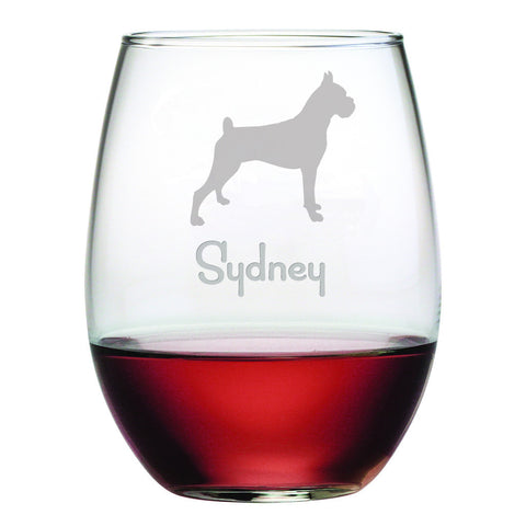 Personalized Dog Breed Stemless Wine Glasses (Set Of Four) - Boxer