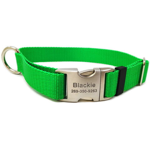 Rita Bean Engraved Buckle Personalized Dog Collar - Nylon Webbing (Bright Green)