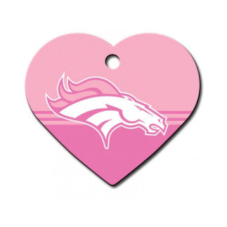Denver Broncos NFL Custom Engraved Dog ID Tag - Pink Heart