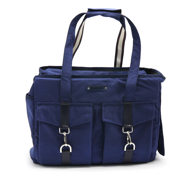 Buckle Tote Dog Carrier - Navy Blue