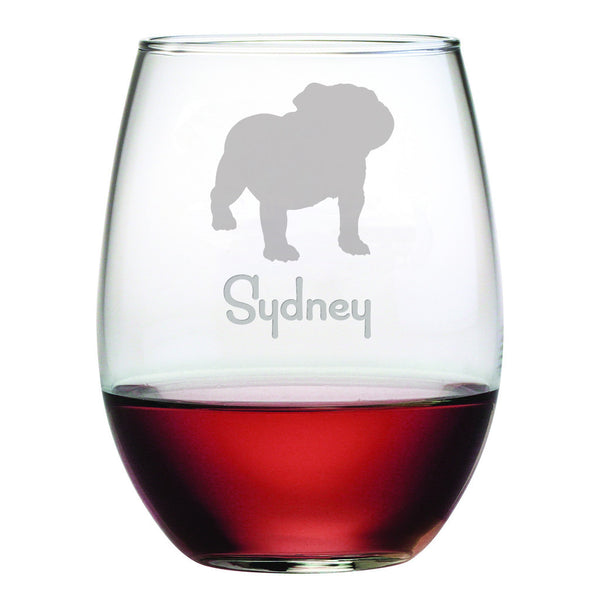 Personalized Dog Breed Stemless Wine Glasses (Set Of Four) - Bulldog