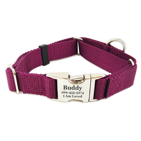 Rita Bean Engraved Buckle Personalized Martingale Style Dog Collar - Nylon Webbing (Burgundy)