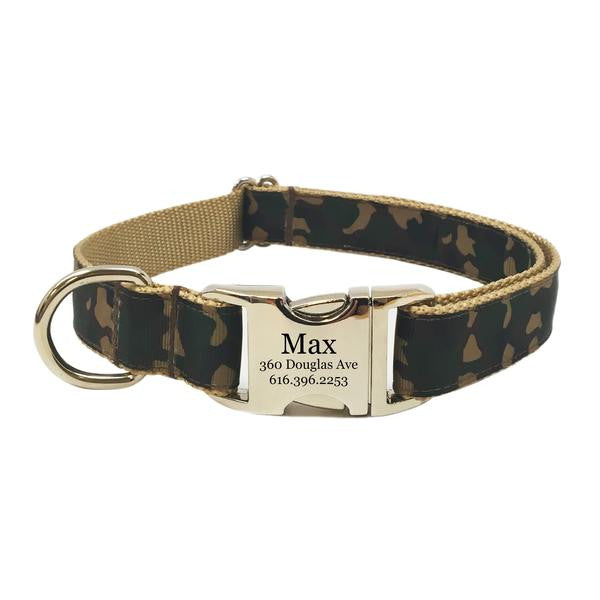 Rita Bean Engraved Buckle Personalized Dog Collar - Camouflage