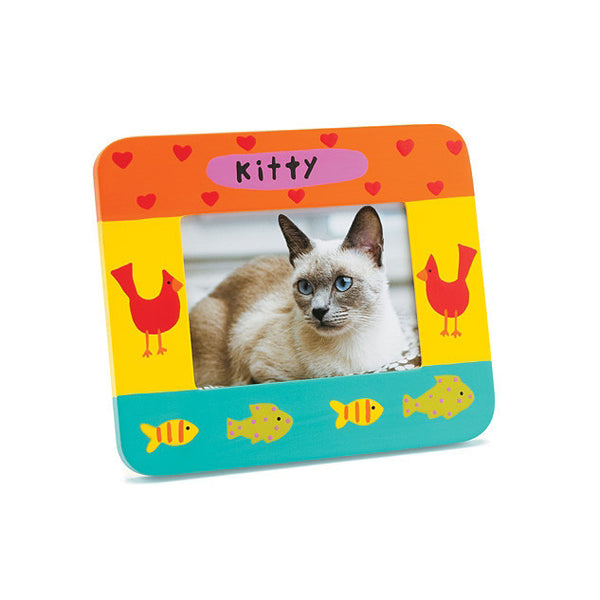 Kitty Cat Photo Frame - Hearts, Birds & Fish