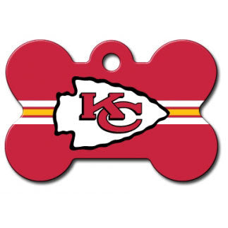 Kansas City Chiefs NFL Custom Engraved Dog ID Tag - Bone