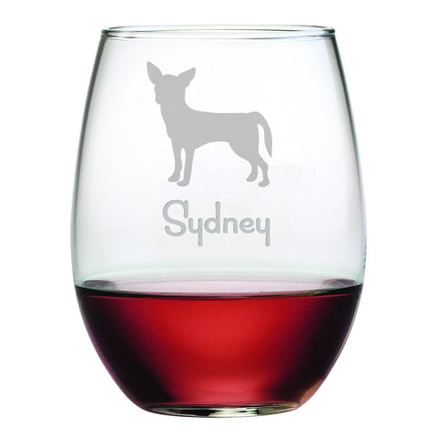 Personalized Dog Breed Stemless Wine Glasses (Set Of Four) - Chihuahua
