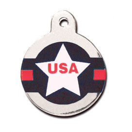 Aviator USA Brass Circle And Star Dog Tag - Large