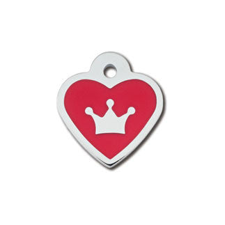 Red Chrome Heart & Crown Dog Tag