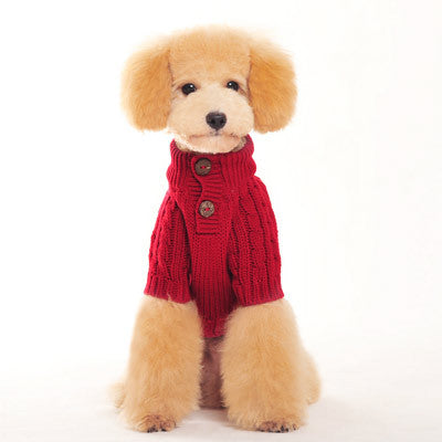 Classic Cable Dog Sweater - Red