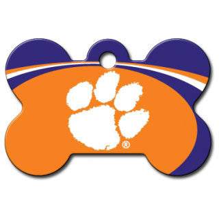 Clemson Tigers NCAA Custom Engraved Dog ID Tag - Bone