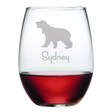 Personalized Dog Breed Stemless Wine Glasses (Set Of Four) - Cocker Spaniel