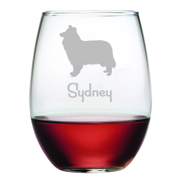 Personalized Dog Breed Stemless Wine Glasses (Set Of Four) - Collie