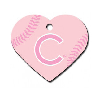 Chicago Cubs MLB Custom Engraved Dog ID Tag - Pink Heart
