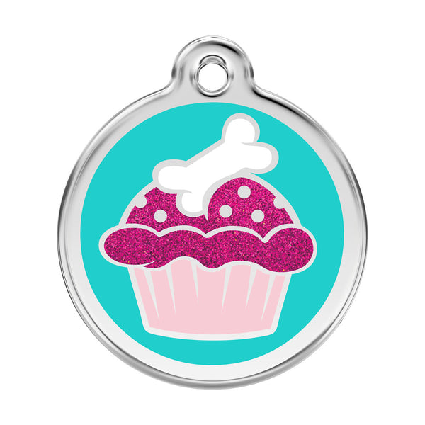 Red Dingo Stainless Steel & Glitter Enamel Cupcake Dog ID Tag