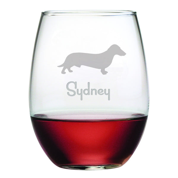 Personalized Dog Breed Stemless Wine Glasses (Set Of Four) - Dachshund