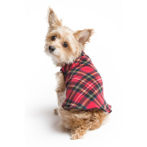 Gold Paw Stretch Fleece Dog Coat - Red Tartan Plaid