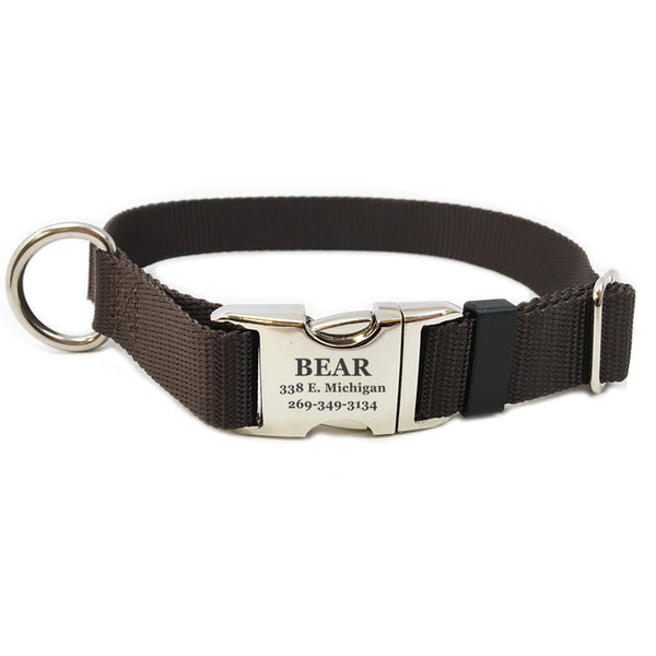 Rita Bean Engraved Buckle Personalized Dog Collar - Nylon Webbing (Dark Brown)