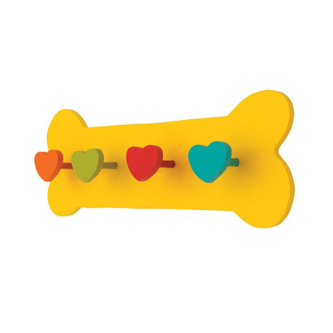 Yellow Bone Dog Leash Holder - Solid Wood