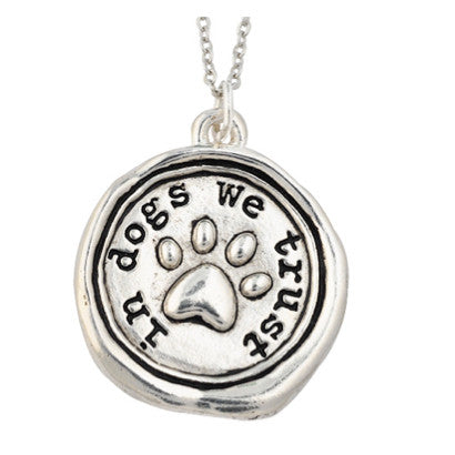 Wax Seal Paw Necklace - In Dogs We Trust