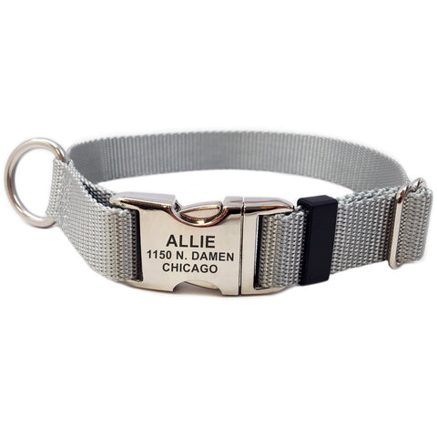 Rita Bean Engraved Buckle Personalized Dog Collar - Nylon Webbing (Gray)
