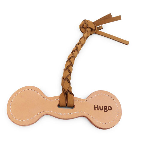 Rita Bean Personalized Leather Fetch Dog Toy - DumbBell