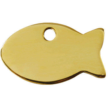 Red Dingo Brass Fish Shaped Cat ID Tag