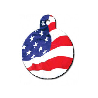 American Flag Dog ID Tag - Round