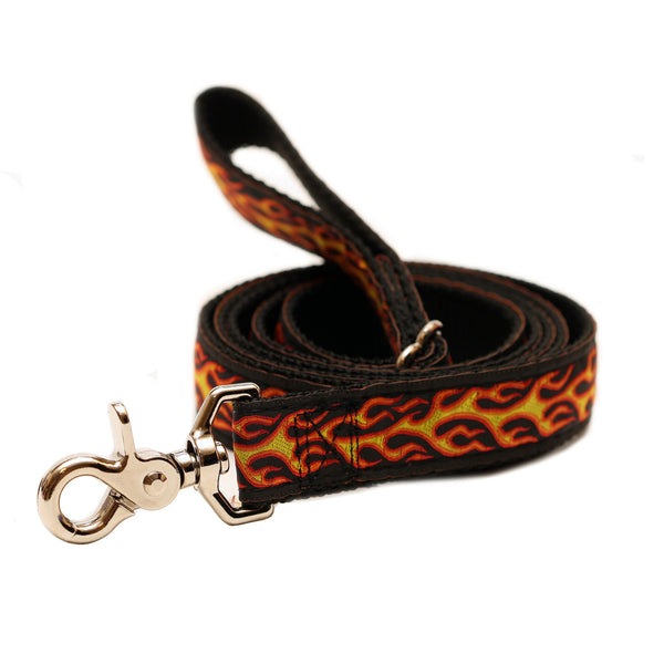 Rita Bean Dog Leash - Rock & Roll Flames & Skulls (Black & Yellow)
