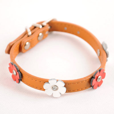 Dogo Flower Dog Collar - Brown
