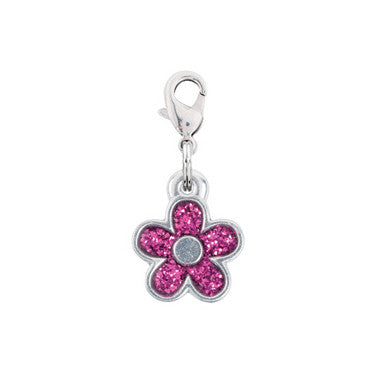 Rockin' Doggie Purple Glitter Flower Dog Charm
