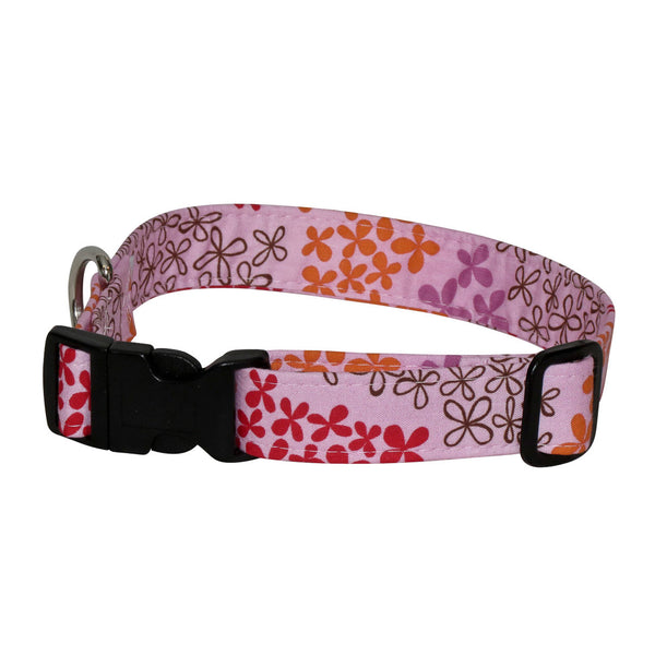 Elmo's Closet Flower Fields Dog Collar - Pink