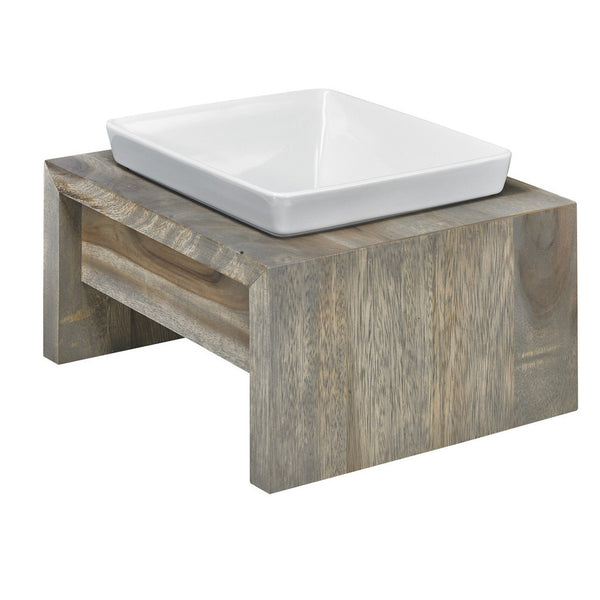Artisan Single Wood Dog Feeder - Fossil (Grey)