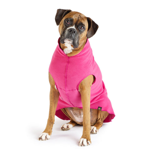 Gold Paw Stretch Fleece Dog Coat - Fuchsia