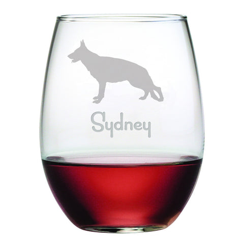 Personalized Dog Breed Stemless Wine Glasses (Set Of Four) - German Shepherd