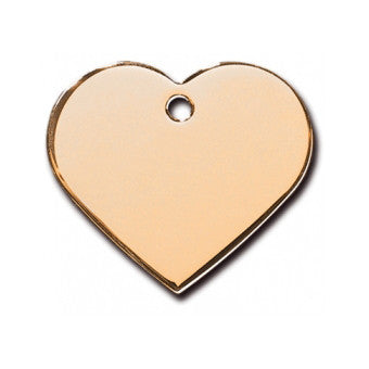 Heart Shaped Plated & Hand Polished Dog Tag - Gold (Double Side Engraving)