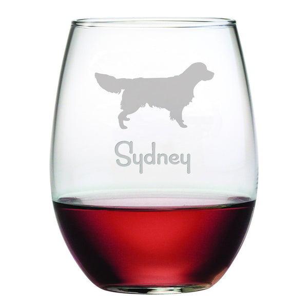 Personalized Dog Breed Stemless Wine Glasses (Set Of Four) - Golden Retriever