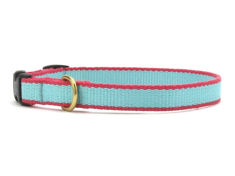 Up Country Green Market Bamboo Cat Collar - Aqua & Coral