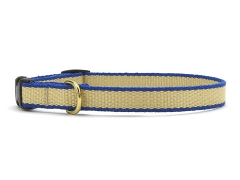 Up Country Green Market Bamboo Cat Collar - Tan & Royal Blue