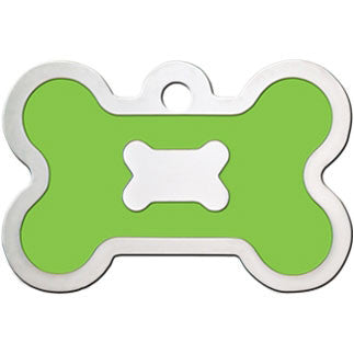 Bone Shaped Epoxy Filled Chrome Dog Tag - Green (Large)
