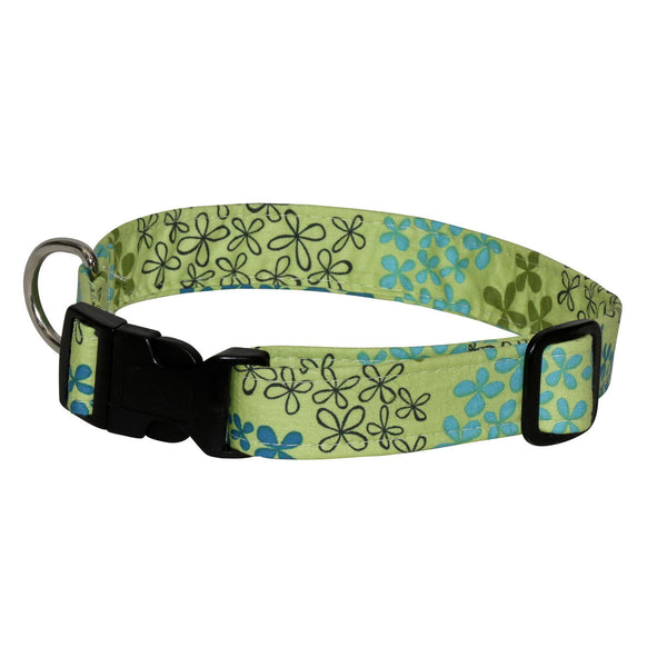 Elmo's Closet Flower Fields Dog Collar - Green
