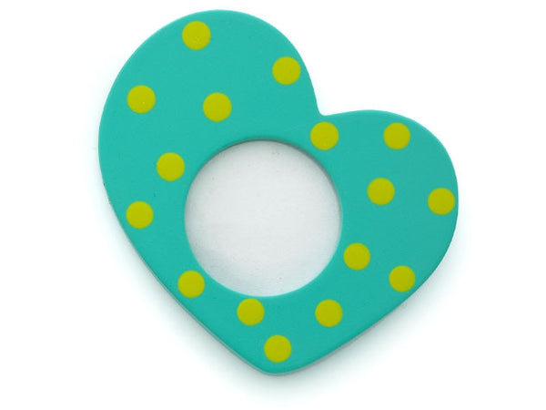 Aqua Heart Photo Frame Magnet or Ornament