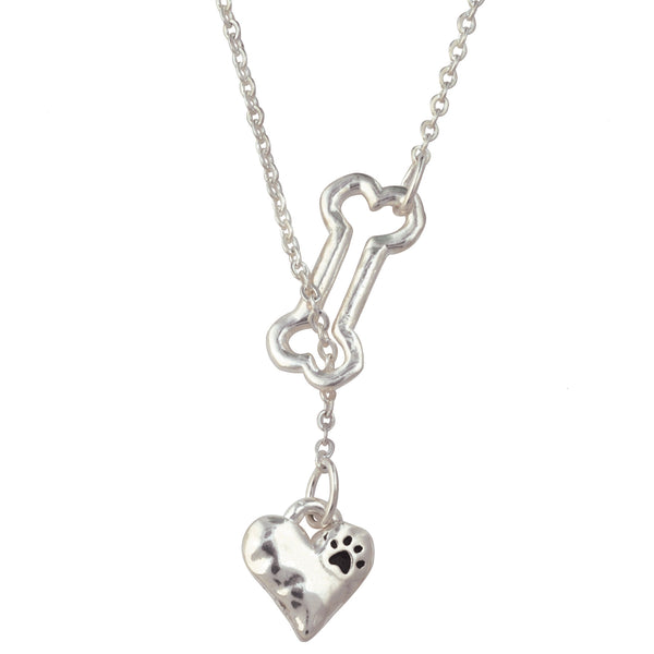Bone Necklace - Heart Lariat With Paw Print