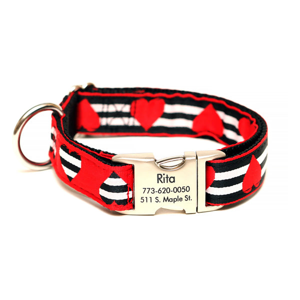 Rita Bean Engraved Buckle Personalized Dog Collar - Red & Black Hearts