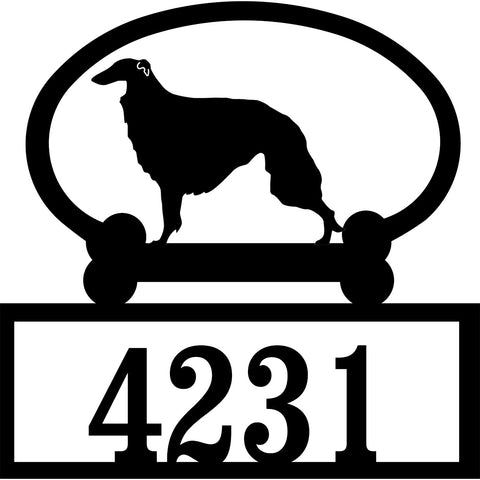 Sweeney Ridge Borzoi Custom House Number Sign
