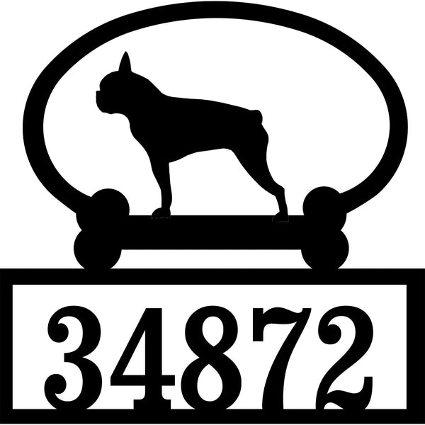 Sweeney Ridge Boston Terrier Custom House Number Sign
