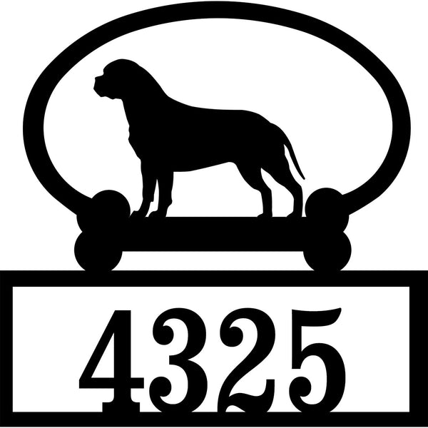 Sweeney Ridge Bull Mastiff Custom House Number Sign