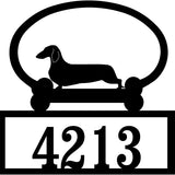 Sweeney Ridge Dachshund Custom House Number Sign