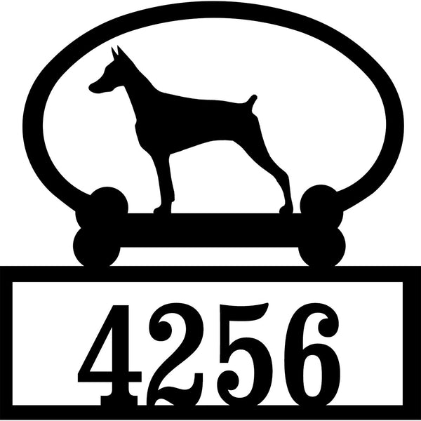 Sweeney Ridge Doberman Pinscher (Cropped) Custom House Number Sign